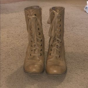 Rock & Candy lace up military heeled boots